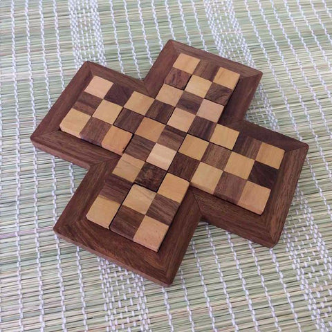 Handmade Wooden 9 Pieces Plus Board Chess Jigsaw Puzzle