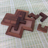 Handmade Wooden 9 Pieces Tangram Plus Board Jigsaw Puzzle