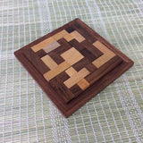 Handmade Wooden Pentomino Puzzle - Brown & Natural