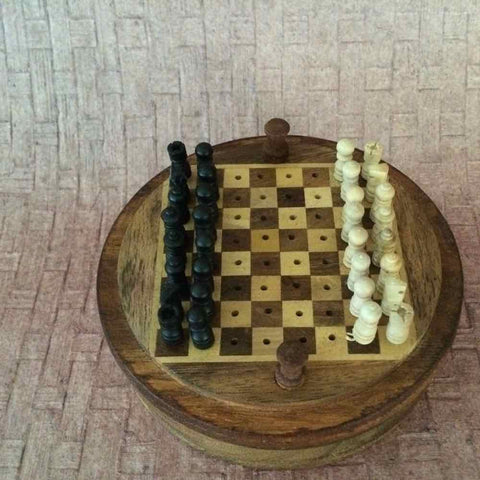 Travel Rosewood Chess Set Pegged