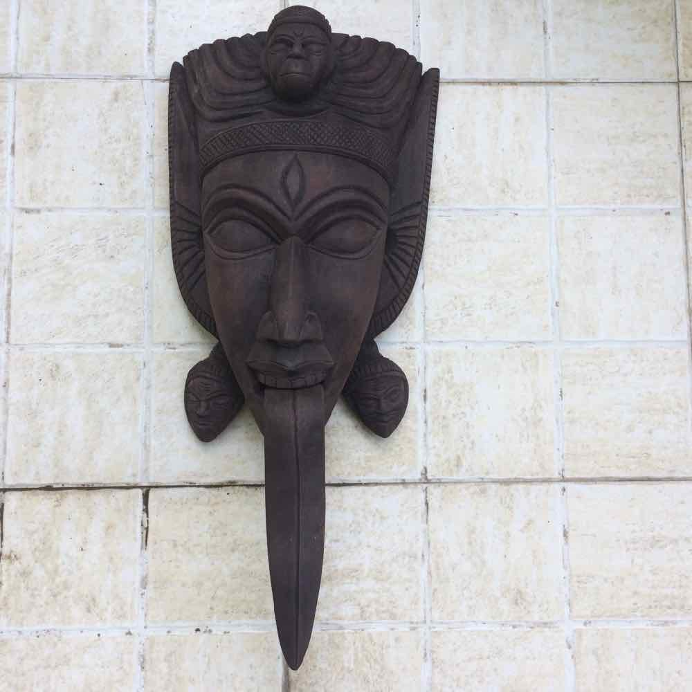 Wooden Brown Kali Mask  with Long Tongue - Small