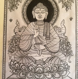 Black & White Buddha Pattachitra on Silk