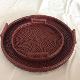 Round Tray With Upward Handle Large