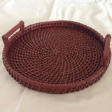 Round Tray With Upward Handle Set of 2