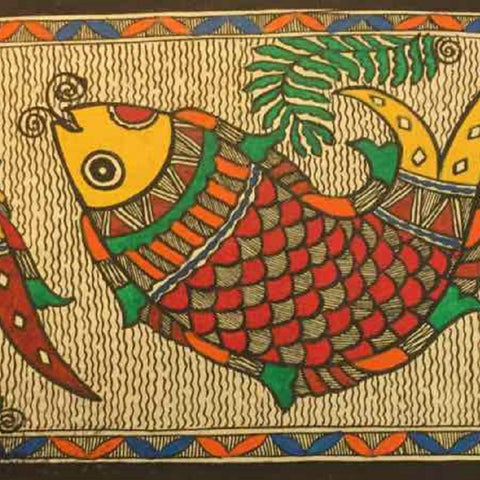 Chain of Cheerful Fishes- Madhubani painting