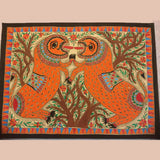Fighting Lions - Madhubani Painting