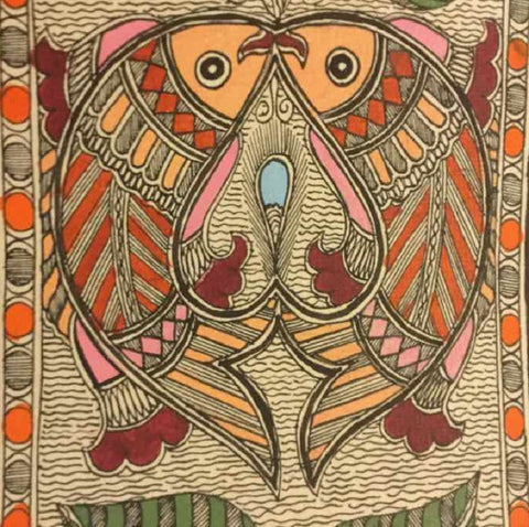 Chain of Cheerful Fishes-2 Madhubani painting