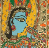 Murli Krishna and Peacock Madhubani painting
