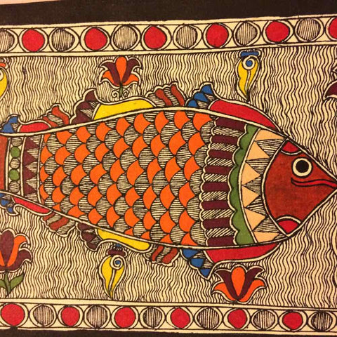 'Cheerful Pair of Fish'- Madhubani Painting