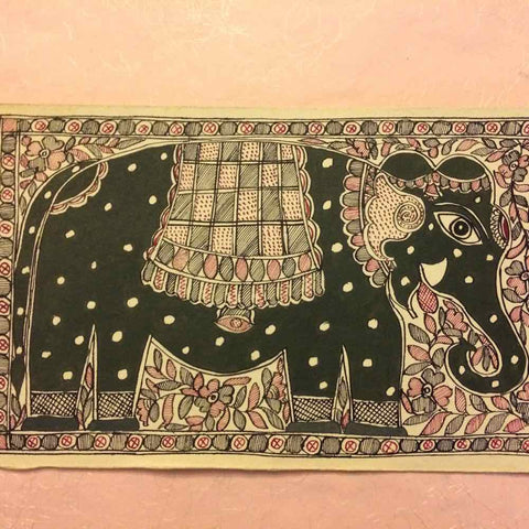 'Elephant Union' Gray- Madhubani Painting