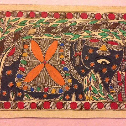 Tandem Elephants - Madhubani Painting