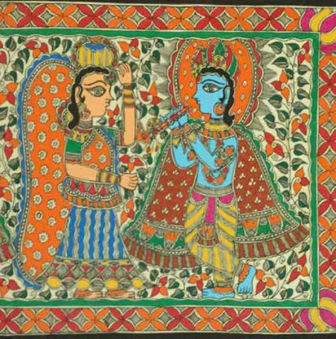 'Dance of Divine Love'- Madhubani Painting