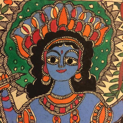 Lord Krishna On Kaliya Snake - Madhubani Painting