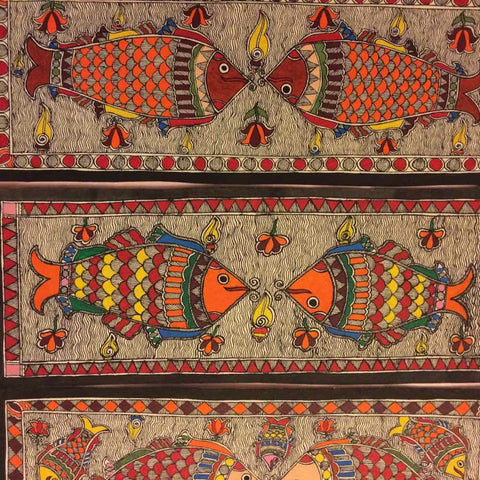 'Set of 3 Fish Family'- Madhubani Painting
