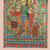 Goddess Durga On Her Lion - Madhubani Painting