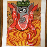 Ganesha with Rats  – Bengal Pattachitra - w/frame