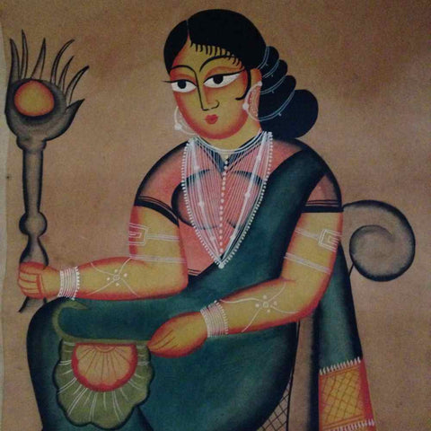 A Seated Woman Kalighat Painting