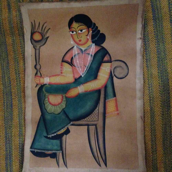 A Seated Woman Kalighat Painting Heart For Art Online