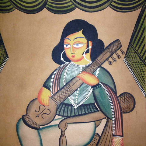 A Man Playing a Tambura Kalighat Painting