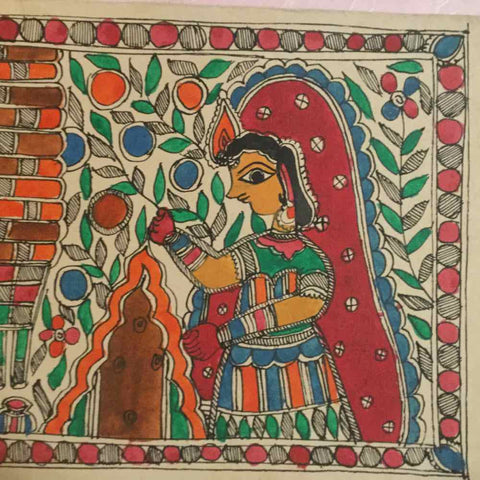 Madhubani Painting Potraying Village Life Chores