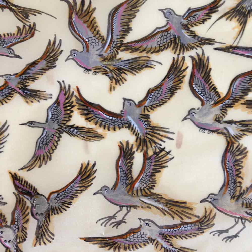 Flying Birds Pattachitra on Silk