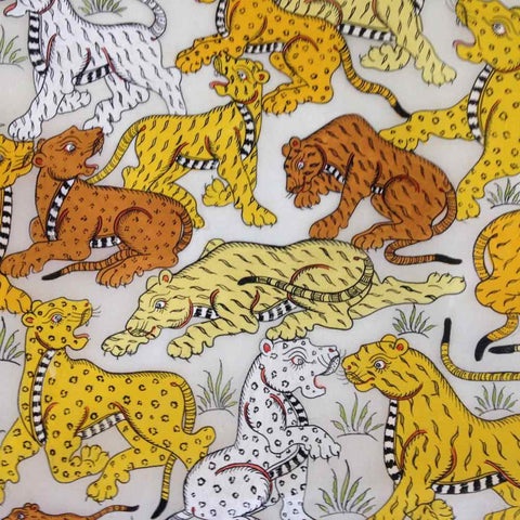 Pattachitra Tigers on Silk :: Soul Of India - w/frame