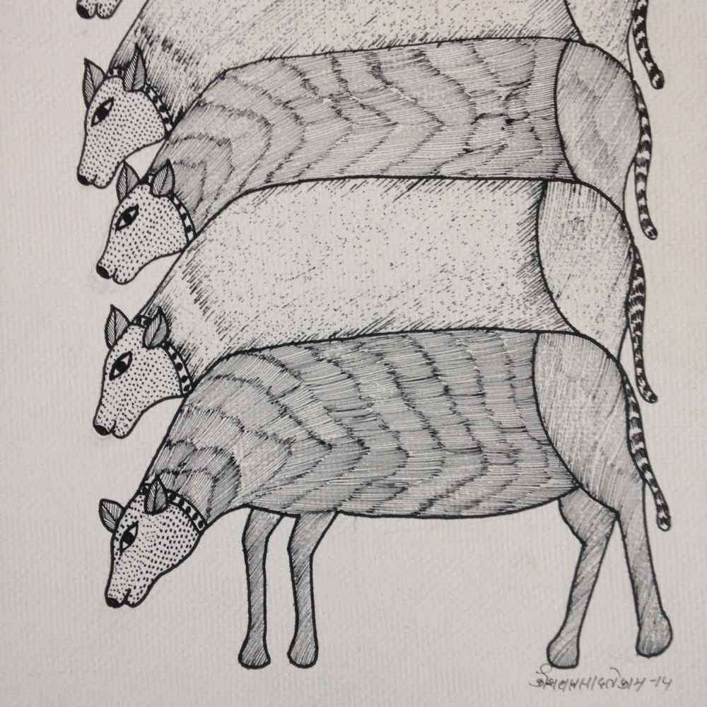 Cow Herd - Gond Painting