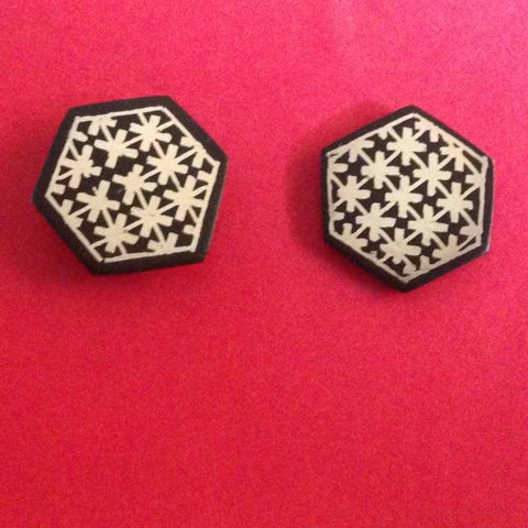 Bidri Cufflinks Hexagonal With Star Work