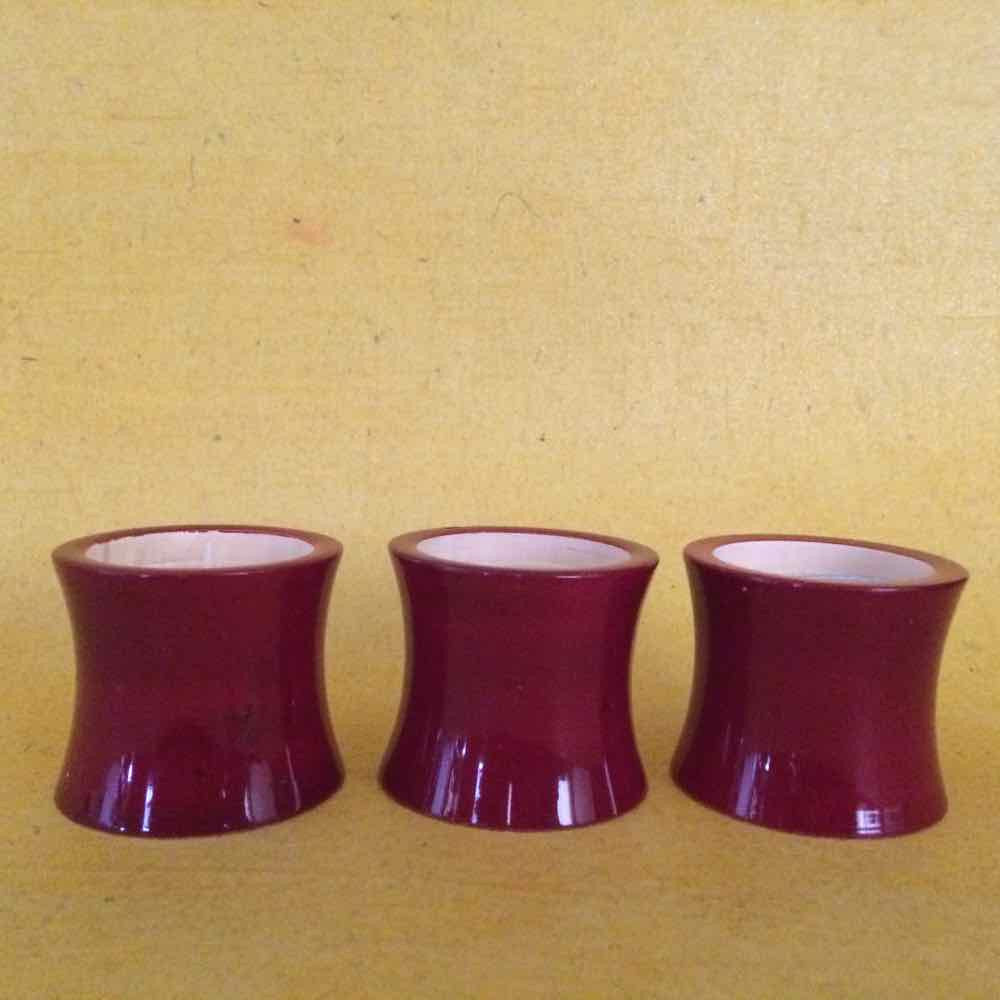 Set of 5 Wood Candle Holder Red