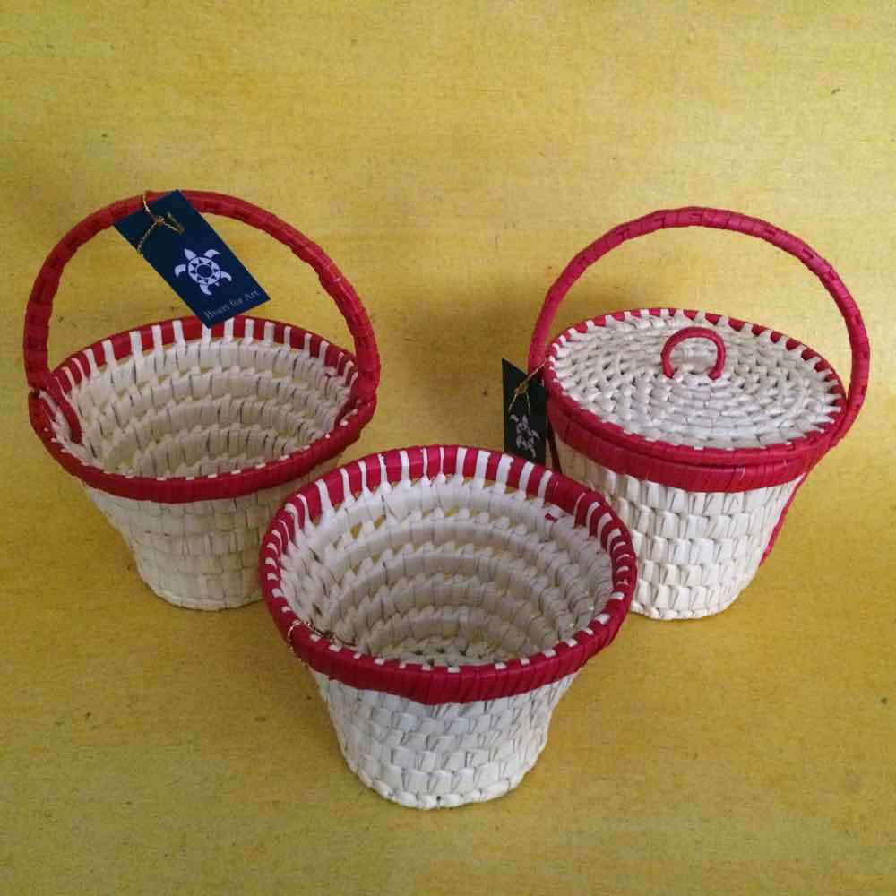Palm Leaf Basket With Handle With Lid Heart For Art Online