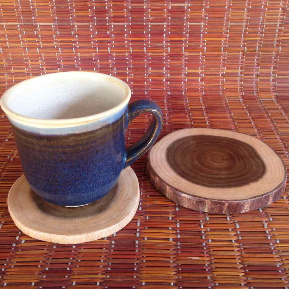 Rustic Wooden Coasters Set of 2 big