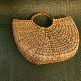 "Round Cane Handle Bag 15"" x 9"" x 5"""