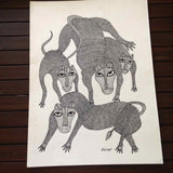 Black And White Tigers Gond Art - w/frame