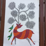Deer & Tree Gond Painting