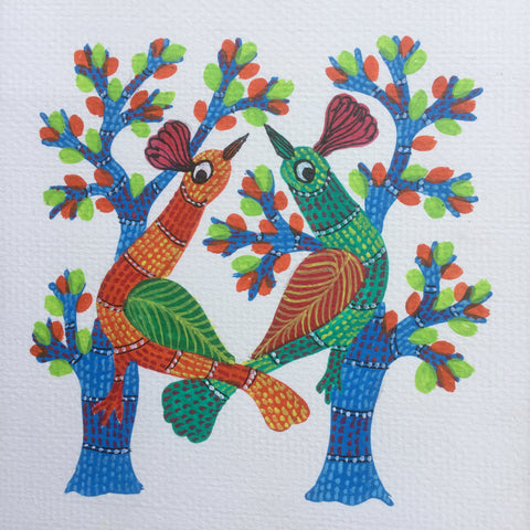 Pair of Birds Gond Painting