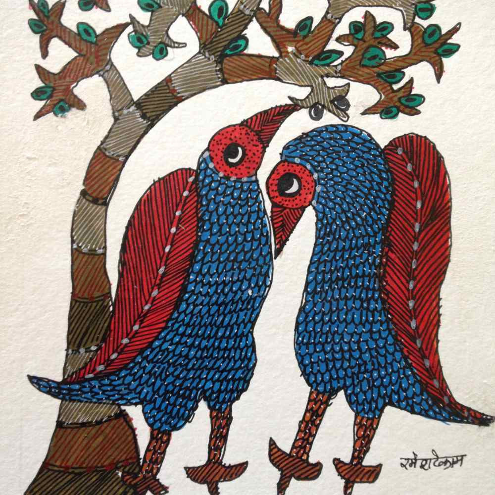 Pair of Birds Resting Under a Tree Gond Painting