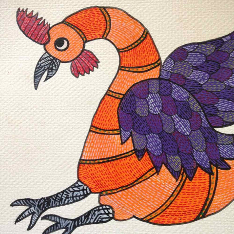 Rooster With Open Wings Gond Painting Small