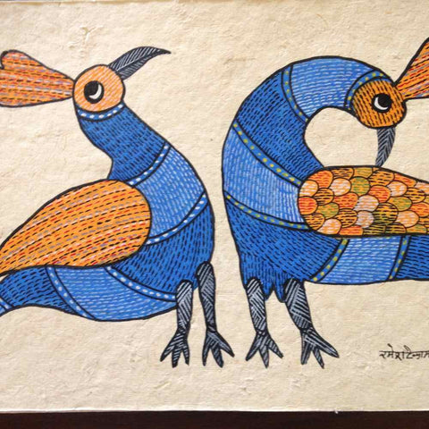 Multi-Color Pair of Birds Gond Painting