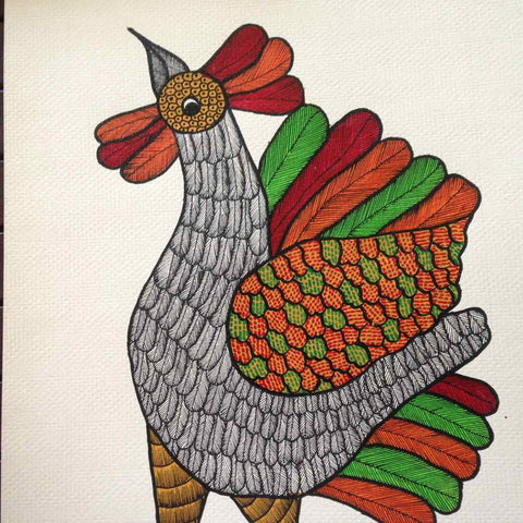 Rooster Gond Painting