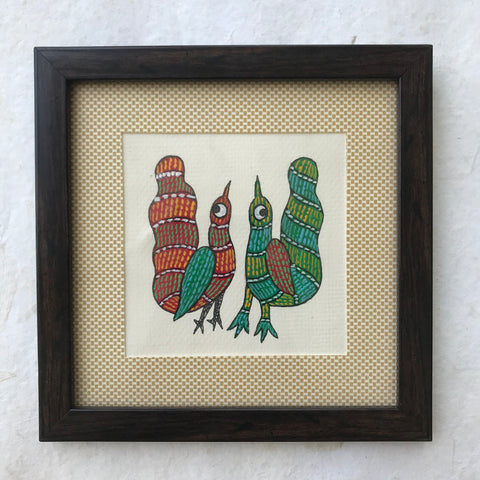 Gond Birds with Frame
