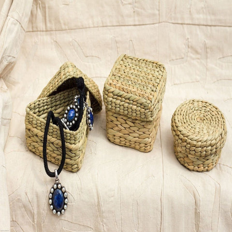 Handcrafted Kauna Reed Geometric Box Round