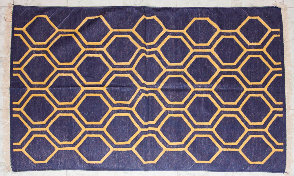 Honey Bee Nest Yellow & Black 5 ft x 3 ft Cotton Punja Dhurrie