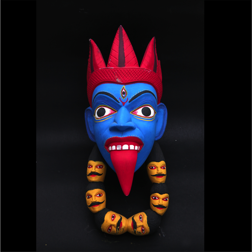 Wooden Mundamala Kali Tribal Mask