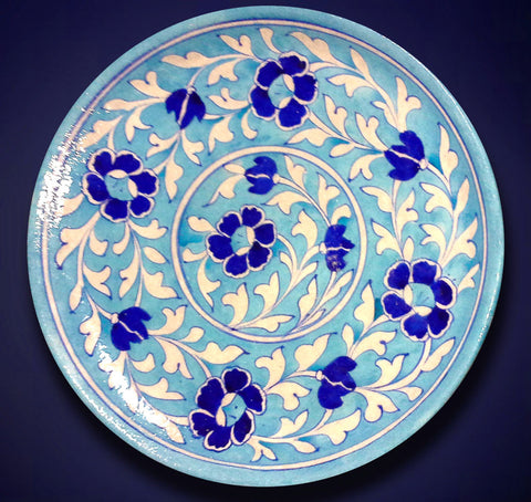 Decorative Plate Large Floral Light Blue