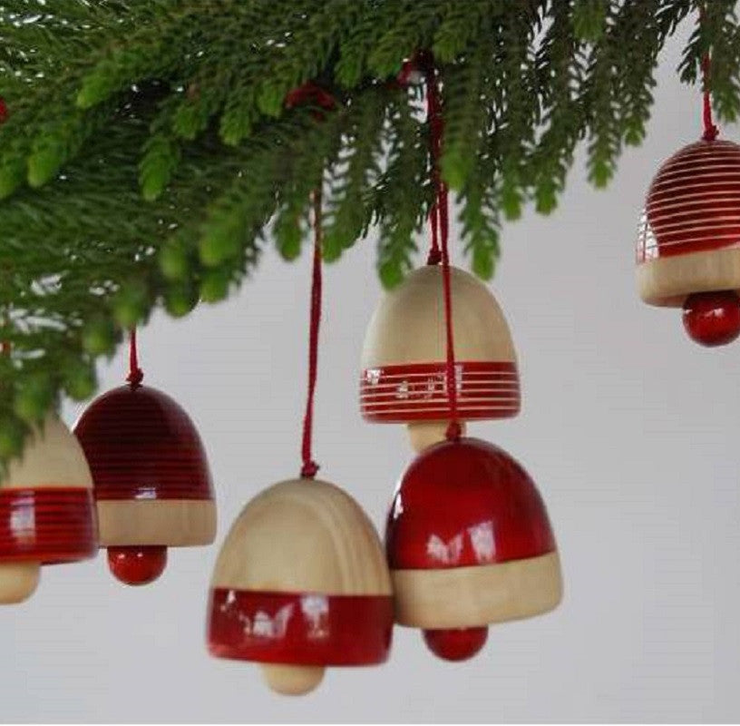Wood Christmas Decorations.Handcrafted Wooden Christmas Decor Bells Red Set Of Six Channapatna Woodcraft Karnataka