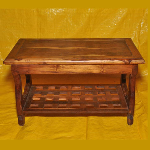 Teak Solid Wood Coffee Table in Rustic Finish