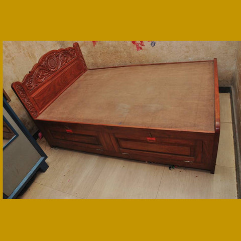 Teak Wood King Size Bed In Natural Finish
