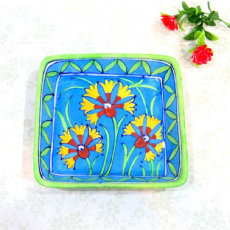 Blue Pottery Tray Square Light Blue