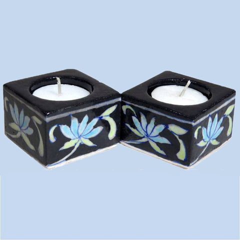 Blue Pottery TeaLight Holder Set