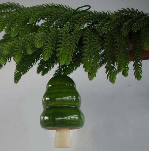 Handcrafted Wooden Christmas Decor : TREE BELLS - Green ( Set of 4)